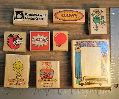 Teacher Incentive Rubber Stamp Lot 9-PC Words Characters & More