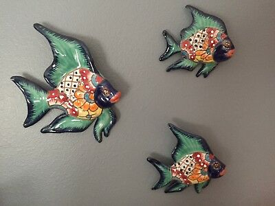 "Talavera Mexican Pottery - Angel Fish (Set Of 3)  ""flawed""  [See Pictures]"