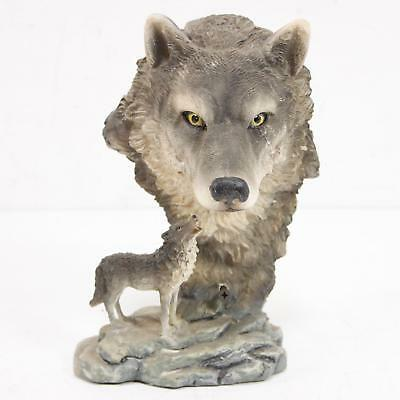 Resin Gray Wolf Head Sculpture With Smaller Wolf Below