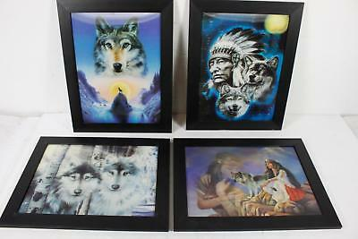 Lot Of 4 3-D Illusion Southwestern Natives Wolves Framed Wall Art