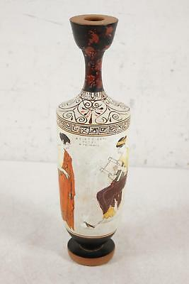 """Ancient Greek 14.25"""" Hand Painted Urn Replica Lyre Scene Pottery Signed"""