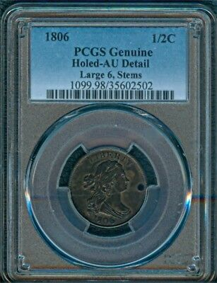 1806 Half Cent PCGS AU Detail, Holed