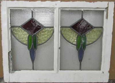 "MID SIZED OLD ENGLISH LEADED STAINED GLASS WINDOW Double Abstract 25.75"" x 19.5"""