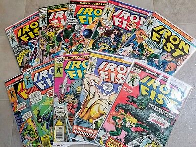 Lot of 10 Marvel Comics Iron Fist 1975-77 # 2 4 5 6 7 9 10 11 12 13