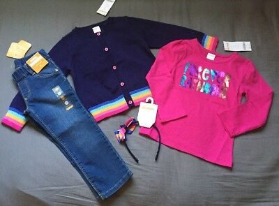 Toddler Girl Size 2 2T Gymboree Rainbow Cardigan Tee Top Jeggings & Headband