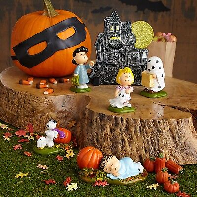 New Dept 56 Snoopy Peanuts Gang Haunted House Set of 6 Halloween Free Shipping