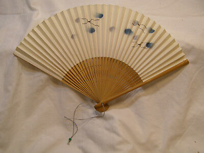 Beautiful Vintage Authentic Japanese Bamboo Paper Folding Hand Fan