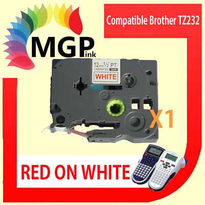 1x Brother Compatible TZ 232 P-Touch Tape 12mm Red on White Laminated