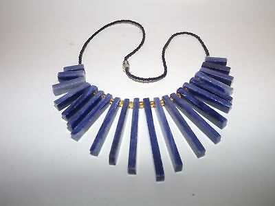 NECKLACE-VNTAGE STONE-BEADED-16 inches-BLUE STONE-NR!