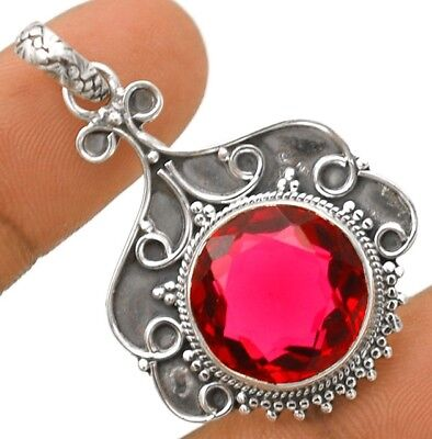 """12CT Rubellite Tourmaline 925 Solid Sterling Silver Pendant Jewelry 1 2/3"""" Long"""