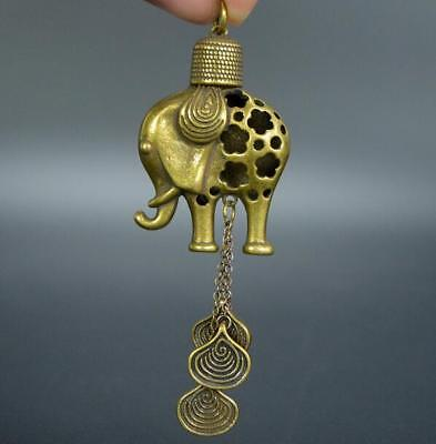 China's archaize brass elephant Small pendant