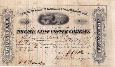 Two Very Rare 1850's Virginia Mining stock certificates (Shenandoah Valley)