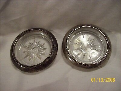 2 Vintage Wes Blackinton Silverplate Glass Coasters