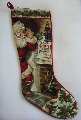 "COCA COLA Christmas Needlepoint Stocking  ""DEAR SANTA PLEASE PAUSE HERE"" 1997"