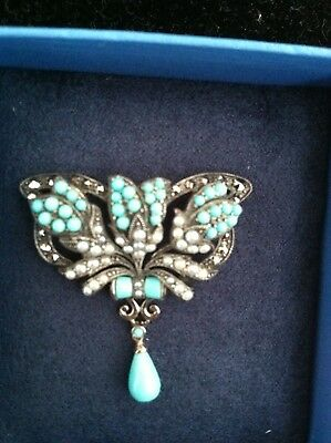 Antique Victorian Edwardian Sterling Silver Turquoise And Seed Pearl Brooch