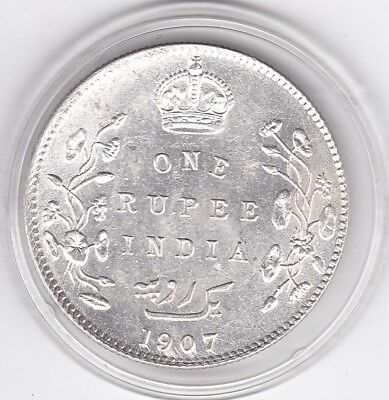 Superb  1907  One  Rupee  India - British  Silver Coin