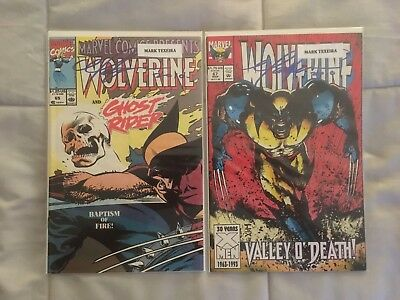 Lot of 2 Wolverine Marvel Comic Books Signed by Mark Texeira