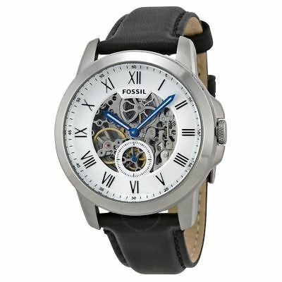 Fossil Men's ME3053 Grant Silver Black Leather Automatic Skeleton White Dial NEW