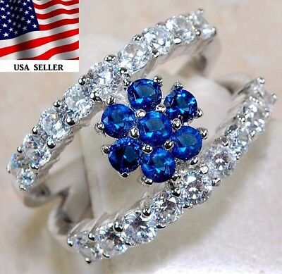 3CT Blue Sapphire & Topaz 925 Solid Genuine Sterling Silver Ring Jewelry Sz 7