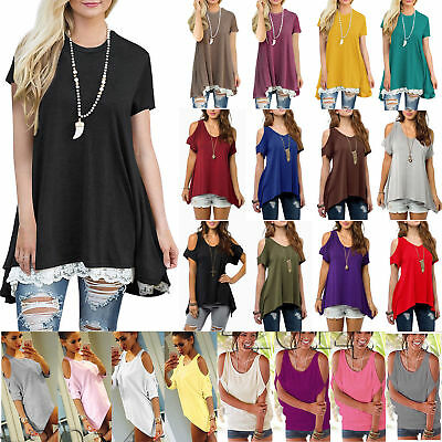 Womens Summer Short Sleeve Loose Tops Tunic Blouse Ladies Casual Shirt T-shirts