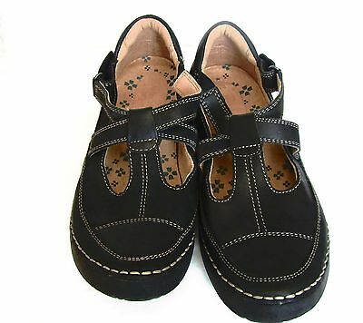 Women Shoes Fashion Oxford Size 8M Black Leather Upper Balance Man Made Strappy