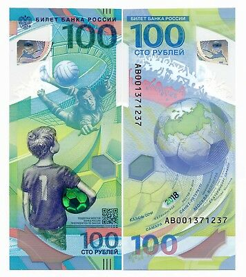 Russia 100 Ruble 2018  FIFA World Cup Polymer Note UNC Replacement AB New