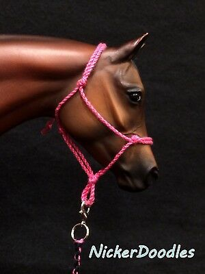 Model horse rope halter & lead rope-Pink-Traditional(1:9) size