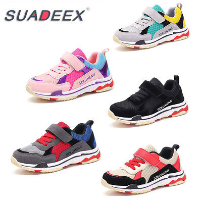 SUADEEX Girls Boys Sports Athletic Shoes Breathable Mesh Kids Running Sneakers