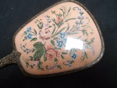 Antique Vintage 1930s Gilded Filigree with Tapestry Flowers Art Deco Hand Mirror