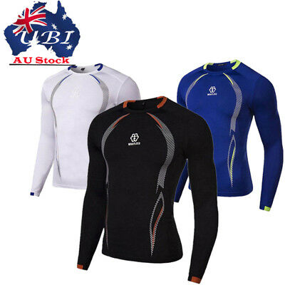 Mens Compression Base Layer Long Sleeve Under Shirt Skin Tight Top Body Armour F