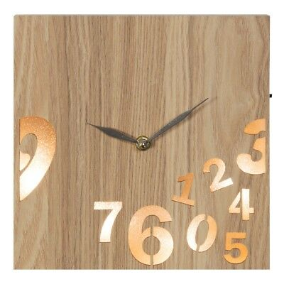 Stylish Square Wall Clock In Metal and Wooden Frame Modern Contemporary 22 cm