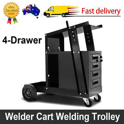 Welder Cart Trolley With 4 Drawers Cabinet MIG TIG ARC Plasma Cutter Bench New