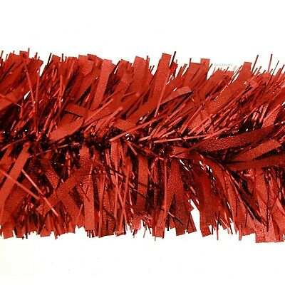 2m Deluxe Thick Chunky Wide Red Shiny Christmas Tree Tinsel Garland Decoration