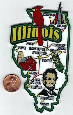Jumbo Illinois  Il State Outline Map  Magnet 7 Color  Chicago Springfield Peoria
