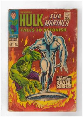 Tales to Astonish # 93 Hulk vs Silver Surfer battle grade 3.5 scarce book !!