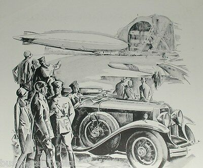 1929 Cadillac advertisement, CADILLAC LaSalle, at airport, dirigible, monoplane