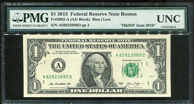 United States 1 Dollars Usa 2013 Boston Hkinf June 2018 Show Pmg Unc Nr