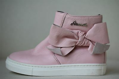 Simonetta Girls Pink Leather Ankle Boots With Bows Eu 26 Uk 8.5