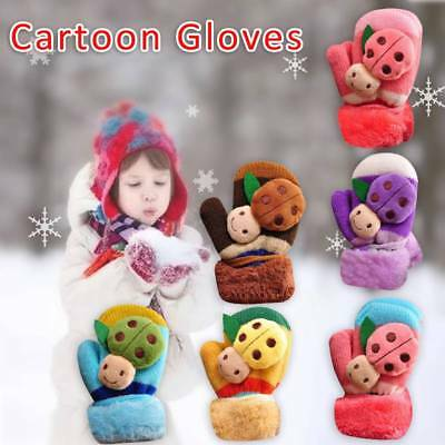 Newborn Baby Kids Girls Boys Child Gloves Winter Warm Cute Cartoon Beatle Mitten