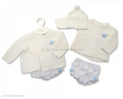 Baby Boys Girls Spanish Style Traditional Knitted Jumper Jam Pants & Hat Outfit