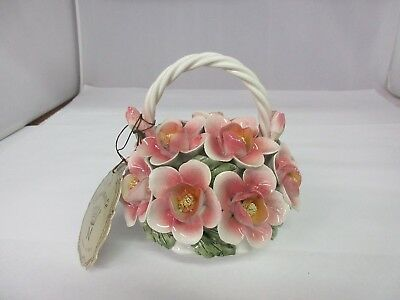 "Capodimonte Italy Pink Flowers in a basket figurine 6"" high  G-418"