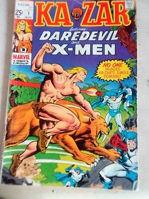 Kazar Comic No1 August 1970. Featuring Daredevil and X-Men. Marvel