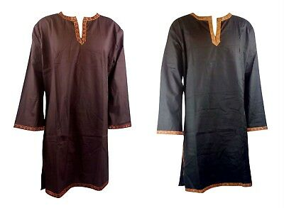 Black and Brown Viscose Tunic Shirt Viking Reenactment Medieval Fancy Dress LARP