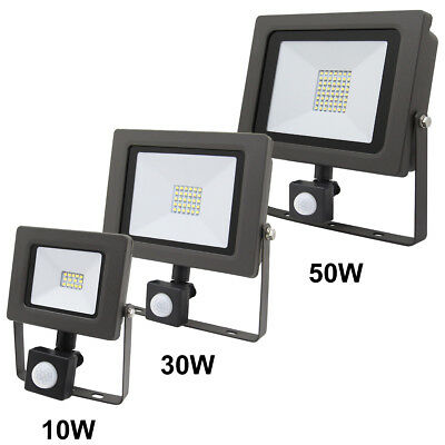 LED Floodlight 10/30/50W PIR Motion Movement Sensor Security Flood Light IP65