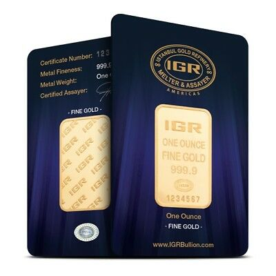1 oz Istanbul Gold Refinery (IGR) .9999 Fine Gold Bar - Sealed in Assay Card