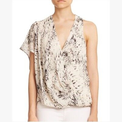 6e5b719497d3e NWT  270 Haute Hippie Floral Feather Bouquet Silk Crossover Blouse Top  Womens XS