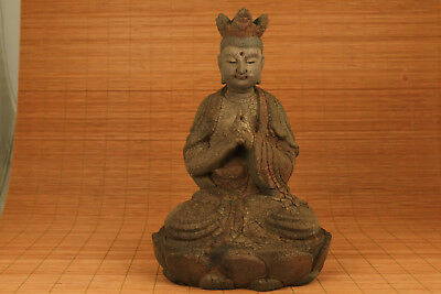 20th Antique chinese oLD Wood Hand Carved Buddha Kwan-YIN Statue