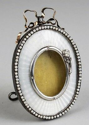 Antique Russian Silver Gold Enamel Picture Frame