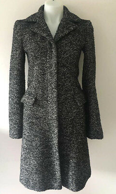 French Connection Long Tweed Coat / US 2 / Jacket Black White Wool Outerwear XS