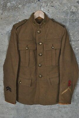 Rare Vintage WWI Canadian Military Wool Jacket 4 CMRR Overseas 147th sz Small